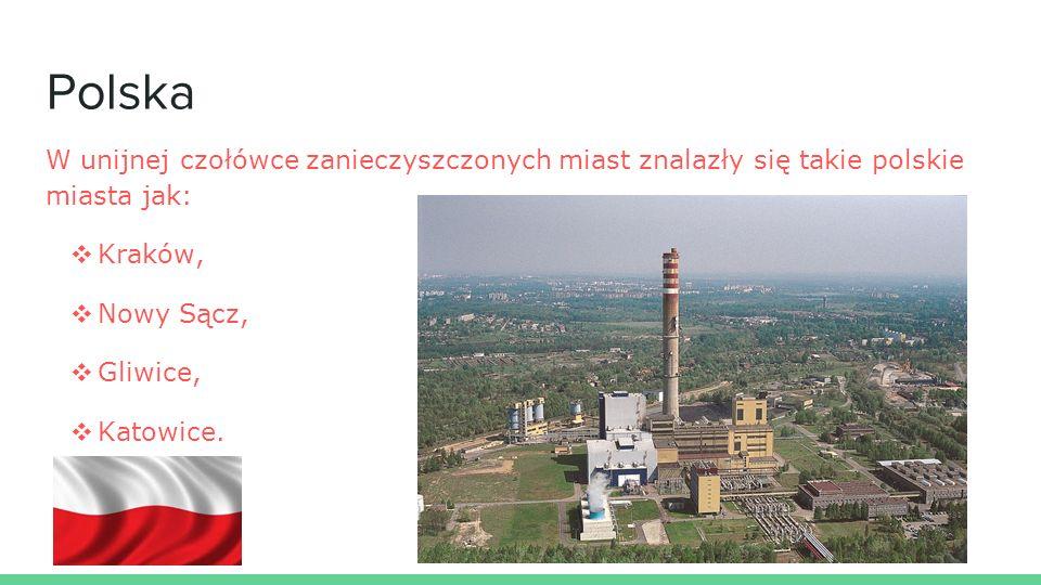 Polska W unijnej czołówce zanieczyszczonych miast znalazły się takie polskie miasta jak: ❖ Kraków, ❖ Nowy Sącz, ❖ Gliwice, ❖ Katowice.