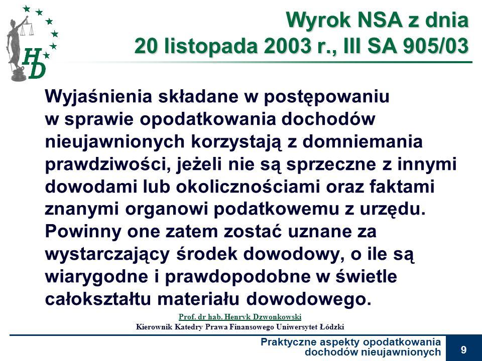 Praktyczne aspekty opodatkowania dochodów nieujawnionych 9 Wyrok NSA z dnia 20 listopada 2003 r., III SA 905/03 Wyjaśnienia składane w postępowaniu w sprawie opodatkowania dochodów nieujawnionych korzystają z domniemania prawdziwości, jeżeli nie są sprzeczne z innymi dowodami lub okolicznościami oraz faktami znanymi organowi podatkowemu z urzędu.
