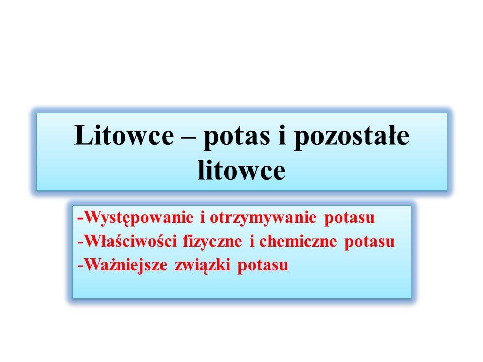 Typowe reakcje litowców Rekcje z tlenem w zależności od aktywności chemicznej: 4Li + O 2  2Li 2 O (tlenek litu) 2Na + O 2  Na 2 O 2 (nadtlenek sodu) K + O 2  KO 2 (podtlenek potasu) Cez ulega samozapaleniu w kontakcie z O 2 Reakcja z wodą (Me – dowolny litowiec) 2Me + 2H 2 O  2MeOH + H 2 Reaktywyność litowców wzrasta wraz ze wzrostem liczby atomowej Z, cez reaguje z wodą wybuchowo, nawet z wodą zamrożoną Rekcje z tlenem w zależności od aktywności chemicznej: 4Li + O 2  2Li 2 O (tlenek litu) 2Na + O 2  Na 2 O 2 (nadtlenek sodu) K + O 2  KO 2 (podtlenek potasu) Cez ulega samozapaleniu w kontakcie z O 2 Reakcja z wodą (Me – dowolny litowiec) 2Me + 2H 2 O  2MeOH + H 2 Reaktywyność litowców wzrasta wraz ze wzrostem liczby atomowej Z, cez reaguje z wodą wybuchowo, nawet z wodą zamrożoną