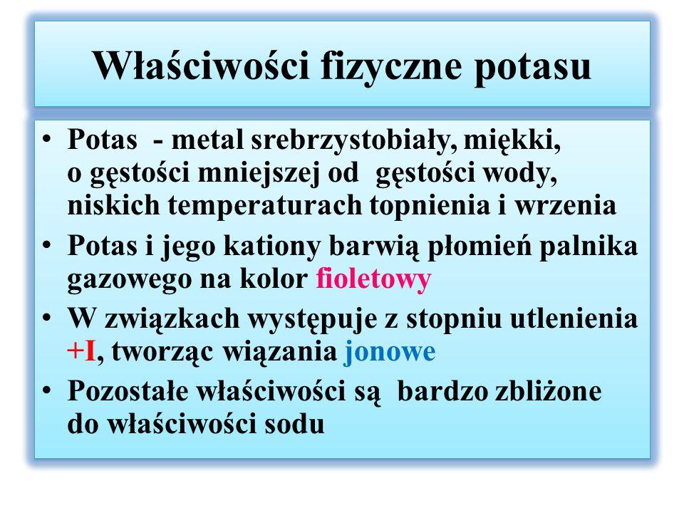 Właściwości chemiczne potasu i jego związków W tlenie spala się do podtlenku potasu: K + O 2  KO 2 Tlenki potasu, wodorek potasu mają charakter zasadowy: 2K + 2H 2 O  2KOH + H 2 K 2 O + H 2 O  2KOH 2KO 2 + 2H 2 O  2KOH + H 2 O 2 + O 2 KH + H 2 O  KOH + H 2 Potas reaguje identycznie z kwasami oraz alkoholami jak sód Potas, wodorotlenek potasu powodują silne poparzenia chemiczne i termiczne skóry, natomiast KCN jest silną trucizną W tlenie spala się do podtlenku potasu: K + O 2  KO 2 Tlenki potasu, wodorek potasu mają charakter zasadowy: 2K + 2H 2 O  2KOH + H 2 K 2 O + H 2 O  2KOH 2KO 2 + 2H 2 O  2KOH + H 2 O 2 + O 2 KH + H 2 O  KOH + H 2 Potas reaguje identycznie z kwasami oraz alkoholami jak sód Potas, wodorotlenek potasu powodują silne poparzenia chemiczne i termiczne skóry, natomiast KCN jest silną trucizną