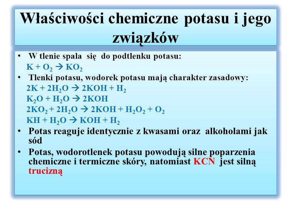 Charakterystyka litowców i ich związków - cd Otrzymywanie – litowce ze względu na bardzo niskie potencjały i dużą reaktywność w stanie czystym otrzymuje się na drodze elektrolizy stopionych chlorków lub wodorotlenków Zastosowanie: - lit czynnik chłodzący w reaktorach jądrowych, baterie litowe, jego związki w przemyśle szklarskim i tekstylnym (węglan litu), ognie sztuczne -Rubid i cez – katody w fotokomórkach, cez w zegarach atomowych Otrzymywanie – litowce ze względu na bardzo niskie potencjały i dużą reaktywność w stanie czystym otrzymuje się na drodze elektrolizy stopionych chlorków lub wodorotlenków Zastosowanie: - lit czynnik chłodzący w reaktorach jądrowych, baterie litowe, jego związki w przemyśle szklarskim i tekstylnym (węglan litu), ognie sztuczne -Rubid i cez – katody w fotokomórkach, cez w zegarach atomowych