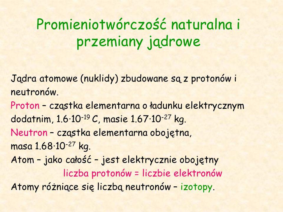 Promieniotwórczość naturalna i przemiany jądrowe Jądra atomowe (nuklidy) zbudowane są z protonów i neutronów.