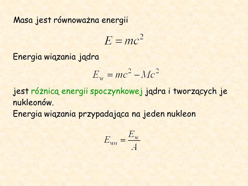 Masa jest równoważna energii Energia wiązania jądra jest różnicą energii spoczynkowej jądra i tworzących je nukleonów.