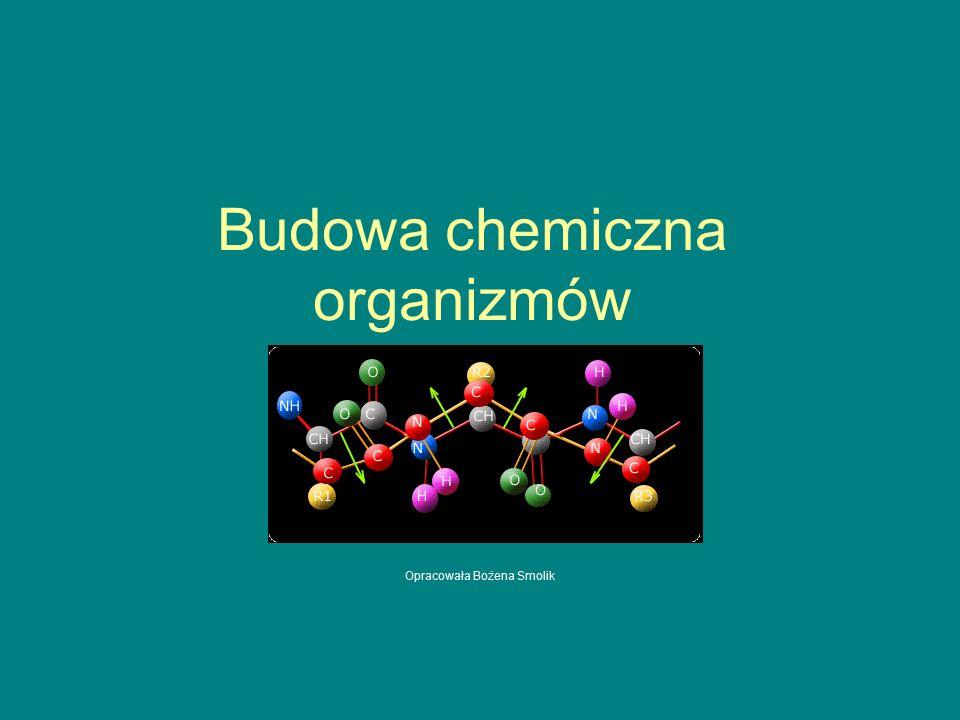Budowa chemiczna organizmów Opracowała Bożena Smolik