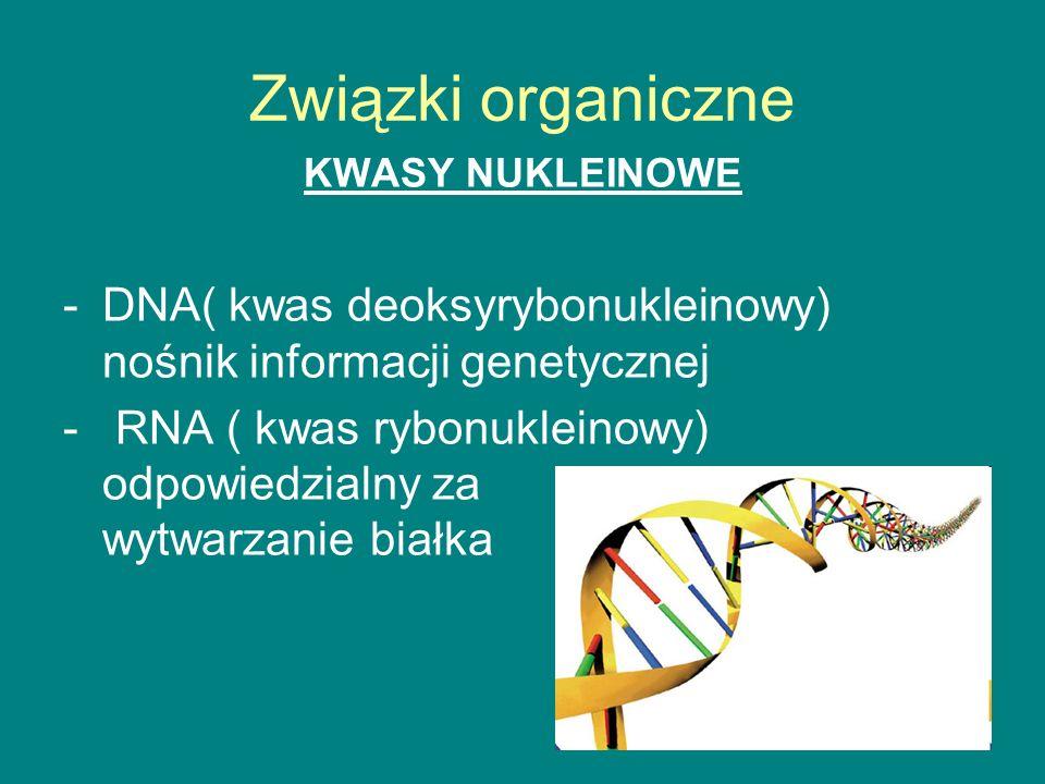 Związki organiczne KWASY NUKLEINOWE -DNA( kwas deoksyrybonukleinowy) nośnik informacji genetycznej - RNA ( kwas rybonukleinowy) odpowiedzialny za wytwarzanie białka