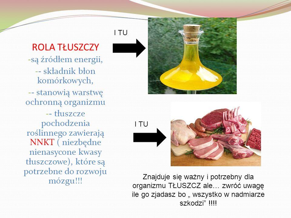 ROLA TŁUSZCZY - są źródłem energii, - - składnik błon komórkowych, - - stanowią warstwę ochronną organizmu - - tłuszcze pochodzenia roślinnego zawierają NNKT ( niezbędne nienasycone kwasy tłuszczowe), które są potrzebne do rozwoju mózgu!!.