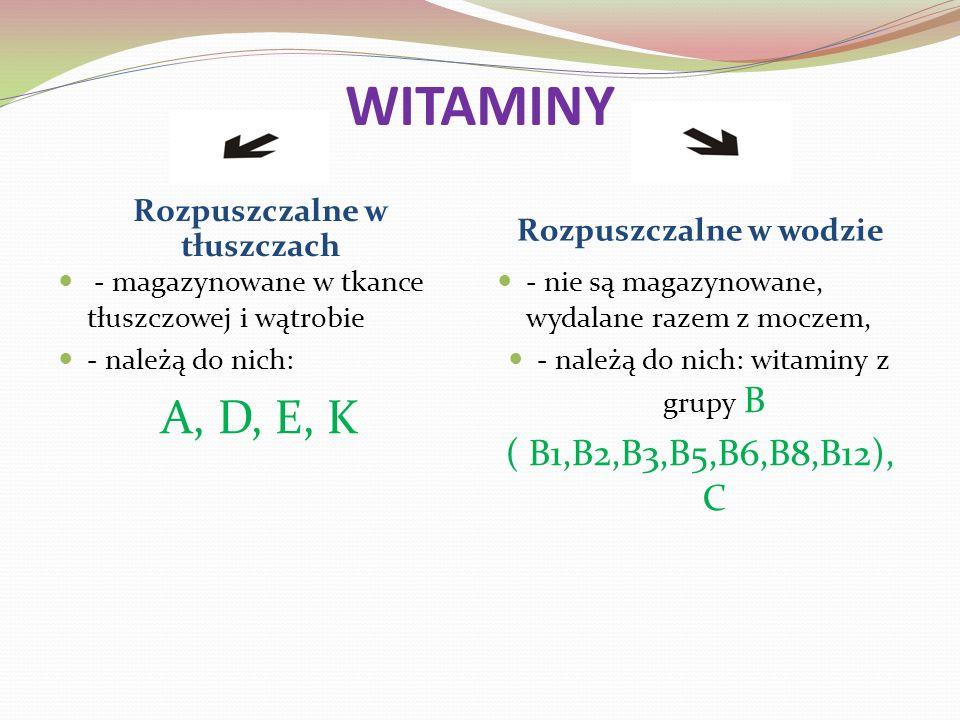 WITAMINY Rozpuszczalne w tłuszczach Rozpuszczalne w wodzie - magazynowane w tkance tłuszczowej i wątrobie - należą do nich: A, D, E, K - nie są magazynowane, wydalane razem z moczem, - należą do nich: witaminy z grupy B ( B1,B2,B3,B5,B6,B8,B12), C
