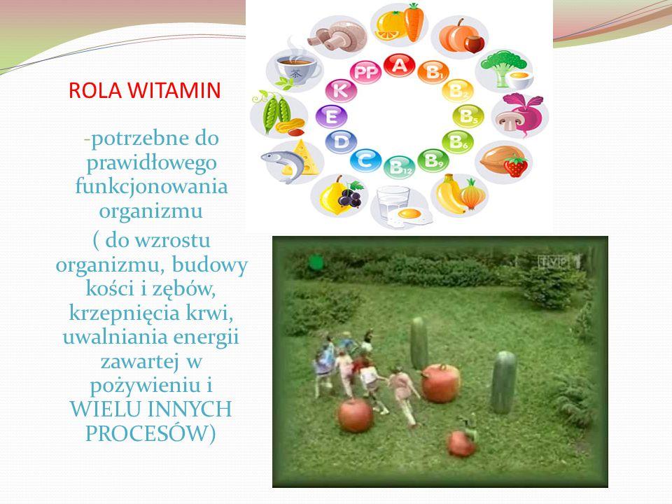 ROLA WITAMIN - potrzebne do prawidłowego funkcjonowania organizmu ( do wzrostu organizmu, budowy kości i zębów, krzepnięcia krwi, uwalniania energii zawartej w pożywieniu i WIELU INNYCH PROCESÓW)
