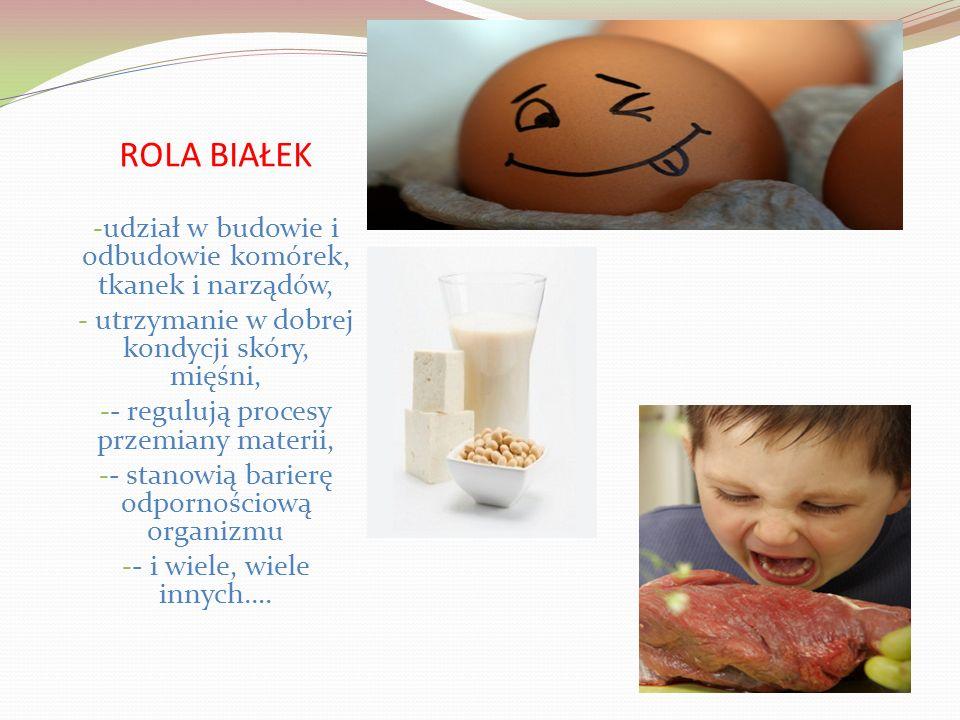 ROLA BIAŁEK - udział w budowie i odbudowie komórek, tkanek i narządów, - utrzymanie w dobrej kondycji skóry, mięśni, - - regulują procesy przemiany materii, - - stanowią barierę odpornościową organizmu - - i wiele, wiele innych….