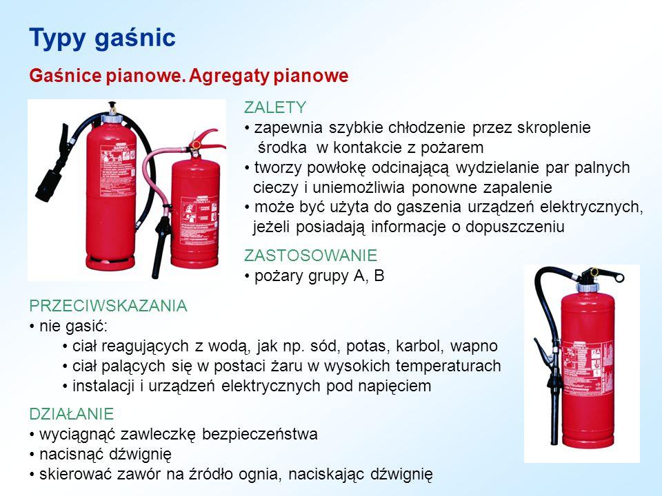 Typy gaśnic PRZECIWSKAZANIA nie gasić: ciał reagujących z wodą, jak np. sód, potas, karbol, wapno ciał palących się w postaci żaru w wysokich temperat