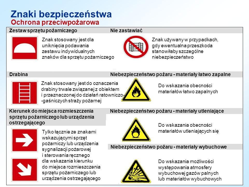 Ochrona przeciwpożarowa Znaki bezpieczeństwa Znak stosowany jest dla uniknięcia podawania zestawu indywidualnych znaków dla sprzętu pożarniczego Znak
