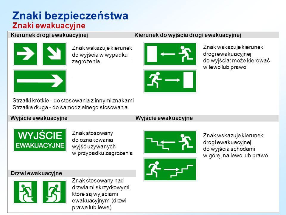 Znaki bezpieczeństwa Znaki ewakuacyjne Strzałki krótkie - do stosowania z innymi znakami Strzałka długa - do samodzielnego stosowania Znak stosowany d