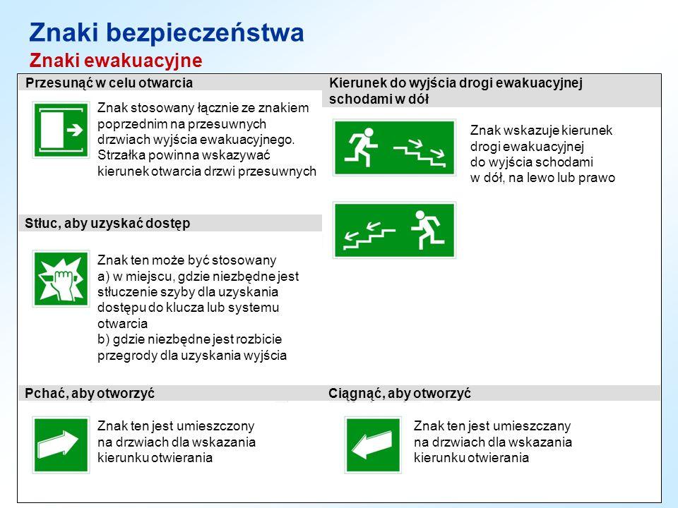 Znaki bezpieczeństwa Znaki ewakuacyjne Znak stosowany łącznie ze znakiem poprzednim na przesuwnych drzwiach wyjścia ewakuacyjnego. Strzałka powinna ws