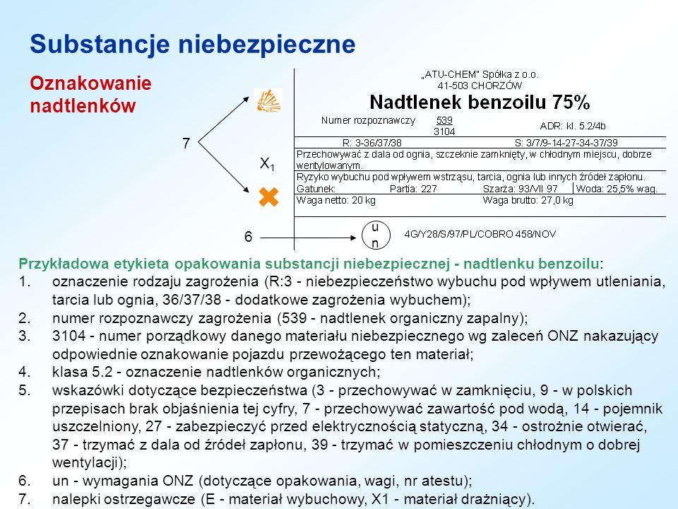 Oznakowanie nadtlenków Substancje niebezpieczne Przykładowa etykieta opakowania substancji niebezpiecznej - nadtlenku benzoilu: 1.oznaczenie rodzaju z