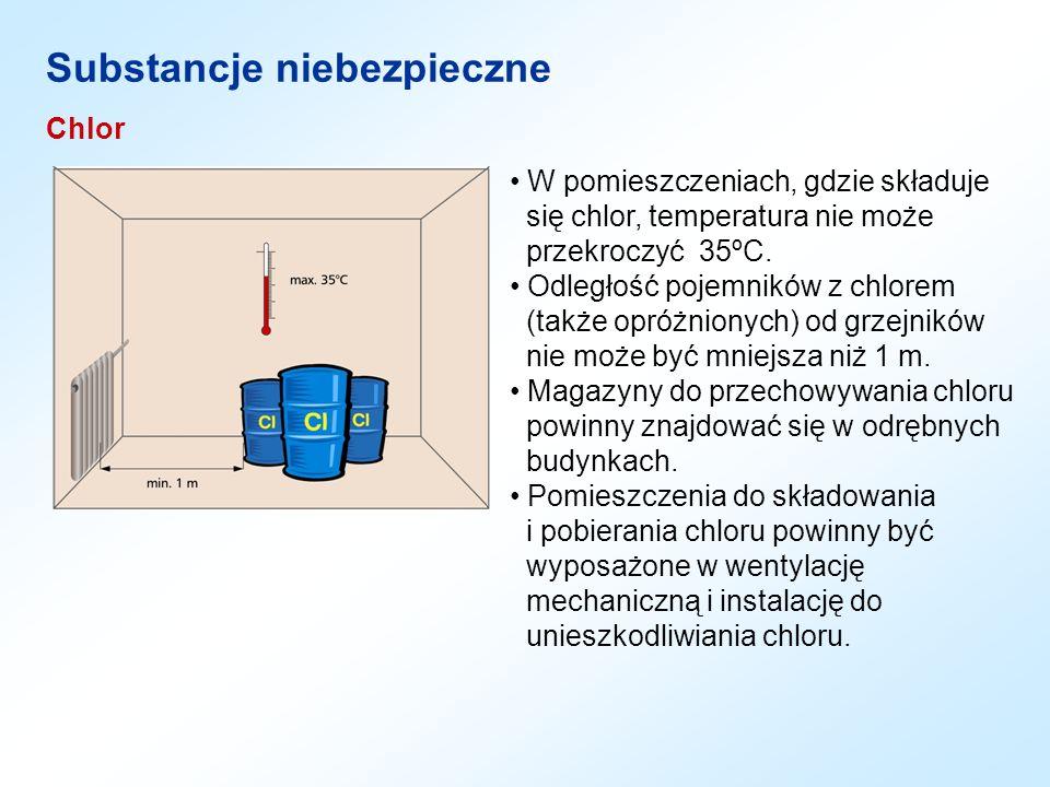 Chlor Substancje niebezpieczne W pomieszczeniach, gdzie składuje się chlor, temperatura nie może przekroczyć 35ºC. Odległość pojemników z chlorem (tak