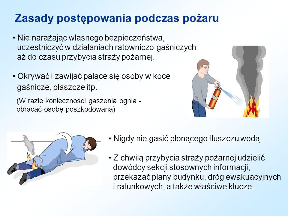 Zasady postępowania podczas pożaru Nie narażając własnego bezpieczeństwa, uczestniczyć w działaniach ratowniczo-gaśniczych aż do czasu przybycia straż