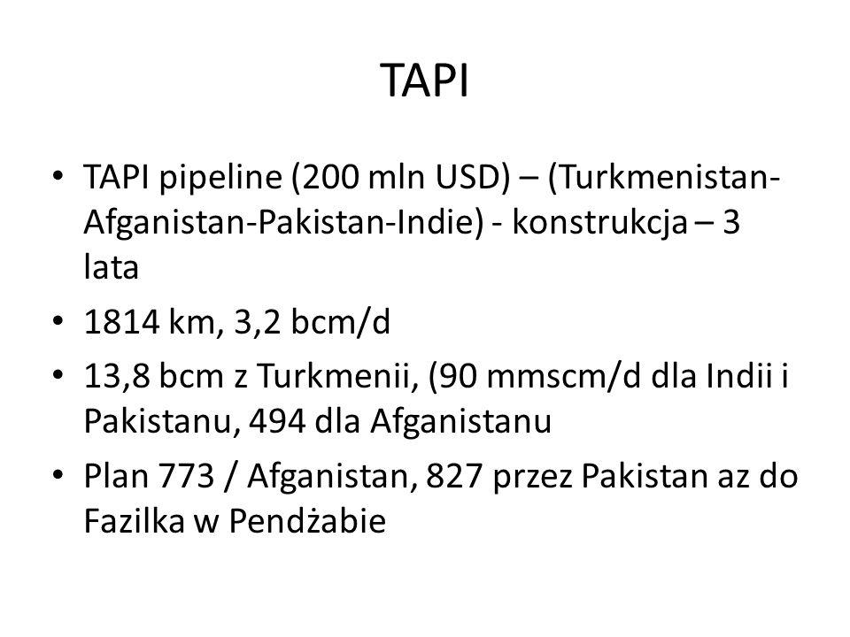 TAPI TAPI pipeline (200 mln USD) – (Turkmenistan- Afganistan-Pakistan-Indie) - konstrukcja – 3 lata 1814 km, 3,2 bcm/d 13,8 bcm z Turkmenii, (90 mmscm/d dla Indii i Pakistanu, 494 dla Afganistanu Plan 773 / Afganistan, 827 przez Pakistan az do Fazilka w Pendżabie