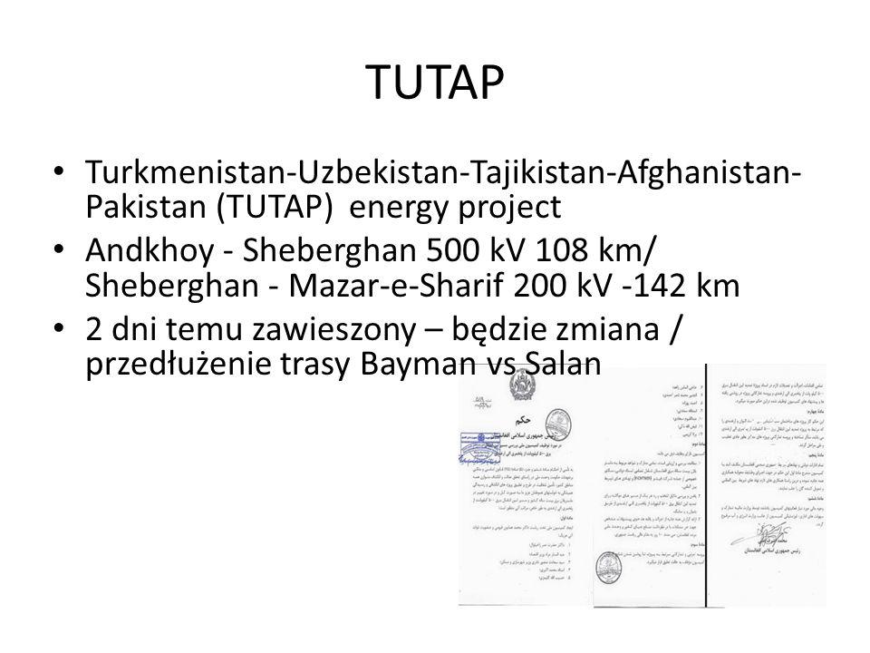 Turkmenistan-Uzbekistan-Tajikistan-Afghanistan- Pakistan (TUTAP) energy project Andkhoy - Sheberghan 500 kV 108 km/ Sheberghan - Mazar-e-Sharif 200 kV -142 km 2 dni temu zawieszony – będzie zmiana / przedłużenie trasy Bayman vs Salan TUTAP