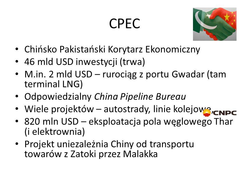 CPEC Chińsko Pakistański Korytarz Ekonomiczny 46 mld USD inwestycji (trwa) M.in.
