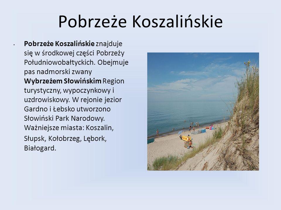 Pobrzeże Koszalińskie Pobrzeże Koszalińskie znajduje się w środkowej części Pobrzeży Południowobałtyckich. Obejmuje pas nadmorski zwany Wybrzeżem Słow