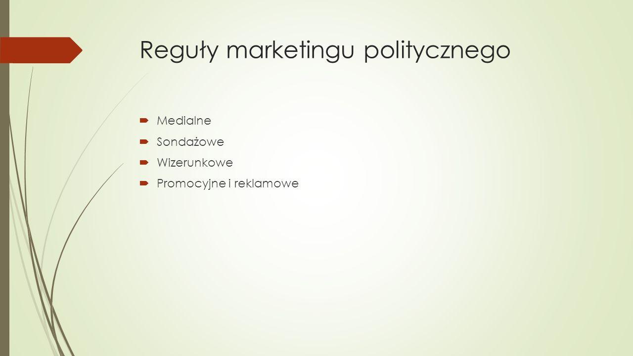 Reguły marketingu politycznego  Medialne  Sondażowe  Wizerunkowe  Promocyjne i reklamowe