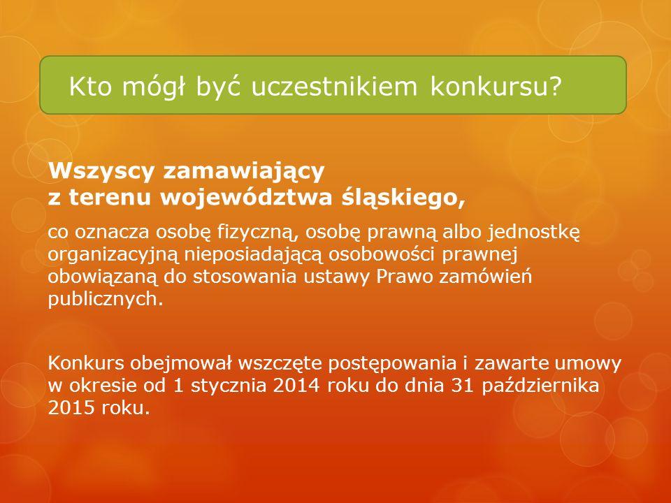 Kto mógł być uczestnikiem konkursu? Wszyscy zamawiający z terenu województwa śląskiego, co oznacza osobę fizyczną, osobę prawną albo jednostkę organiz