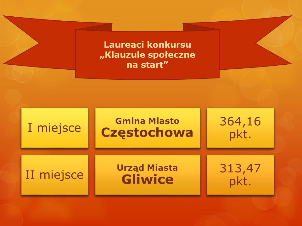 I miejsce Gmina Miasto Częstochowa 364,16 pkt. II miejsce Urząd Miasta Gliwice 313,47 pkt.