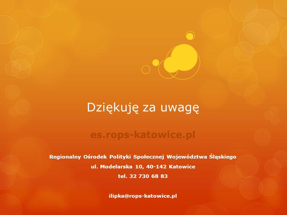 Dziękuję za uwagę es.rops-katowice.pl Regionalny Ośrodek Polityki Społecznej Województwa Śląskiego ul. Modelarska 10, 40-142 Katowice tel. 32 730 68 8