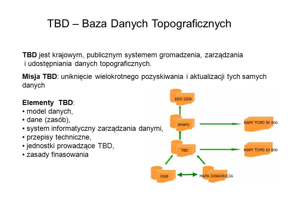 TBD – Baza Danych Topograficznych TBD jest krajowym, publicznym systemem gromadzenia, zarządzania i udostępniania danych topograficznych. Misja TBD: u