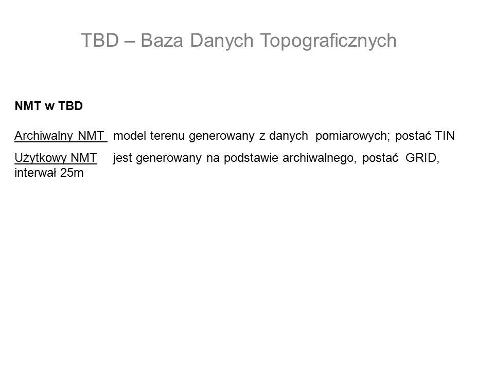 NMT w TBD Archiwalny NMT model terenu generowany z danych pomiarowych; postać TIN Użytkowy NMTjest generowany na podstawie archiwalnego, postać GRID,