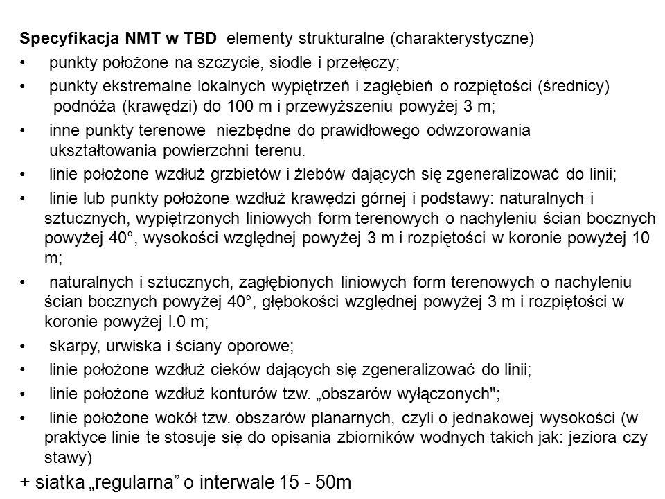 Specyfikacja NMT w TBD elementy strukturalne (charakterystyczne) punkty położone na szczycie, siodle i przełęczy; punkty ekstremalne lokalnych wypiętr