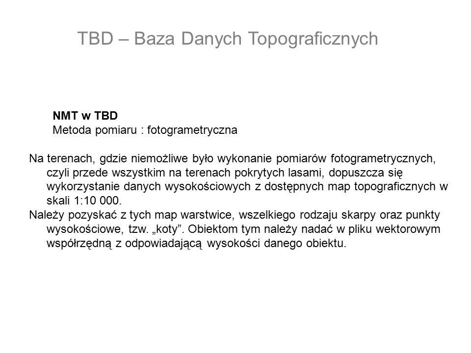 NMT w TBD Metoda pomiaru : fotogrametryczna Na terenach, gdzie niemożliwe było wykonanie pomiarów fotogrametrycznych, czyli przede wszystkim na terena