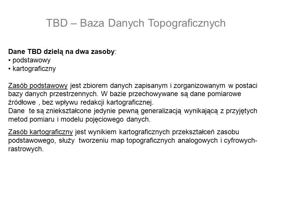 Dane TBD dzielą na dwa zasoby: podstawowy kartograficzny Zasób podstawowy jest zbiorem danych zapisanym i zorganizowanym w postaci bazy danych przestr