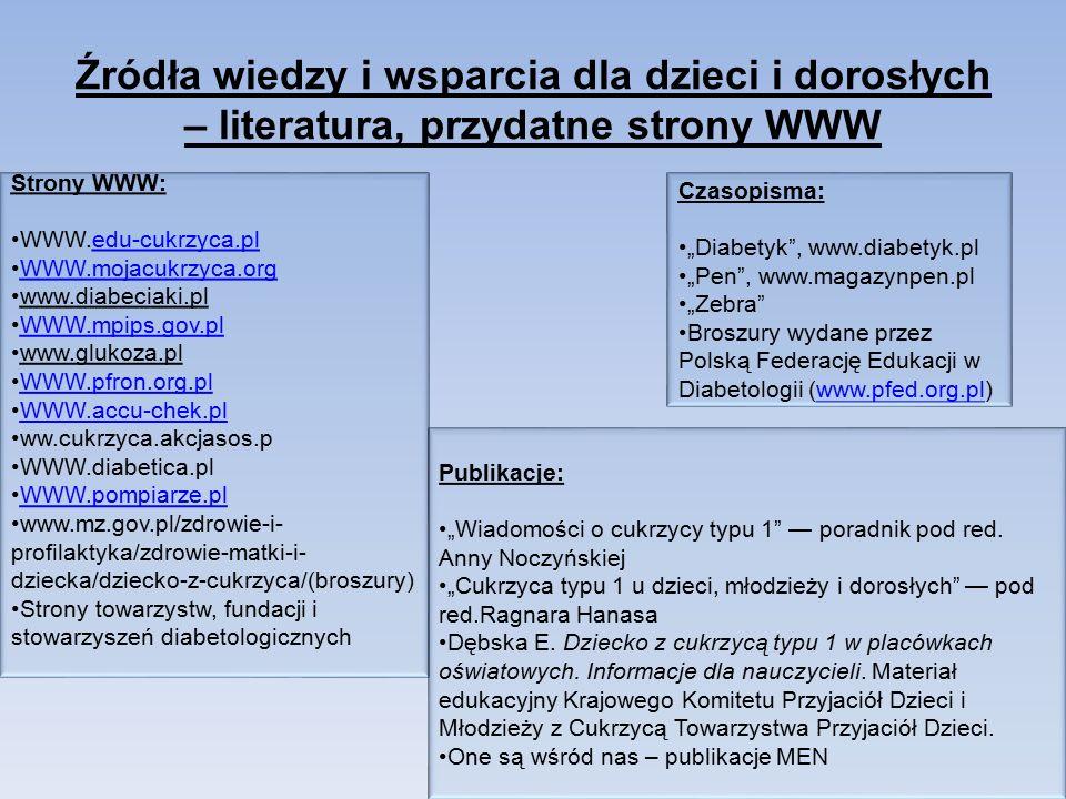 """Źródła wiedzy i wsparcia dla dzieci i dorosłych – literatura, przydatne strony WWW Strony WWW: WWW.edu-cukrzyca.pledu-cukrzyca.pl WWW.mojacukrzyca.orgWWW.mojacukrzyca.org www.diabeciaki.pl WWW.mpips.gov.pl www.glukoza.pl WWW.pfron.org.pl WWW.accu-chek.pl ww.cukrzyca.akcjasos.p WWW.diabetica.pl WWW.pompiarze.plWWW.pompiarze.pl www.mz.gov.pl/zdrowie-i- profilaktyka/zdrowie-matki-i- dziecka/dziecko-z-cukrzyca/(broszury) Strony towarzystw, fundacji i stowarzyszeń diabetologicznych Czasopisma: """"Diabetyk , www.diabetyk.pl """"Pen , www.magazynpen.pl """"Zebra Broszury wydane przez Polską Federację Edukacji w Diabetologii (www.pfed.org.pl)www.pfed.org.pl Publikacje: """"Wiadomości o cukrzycy typu 1 — poradnik pod red."""