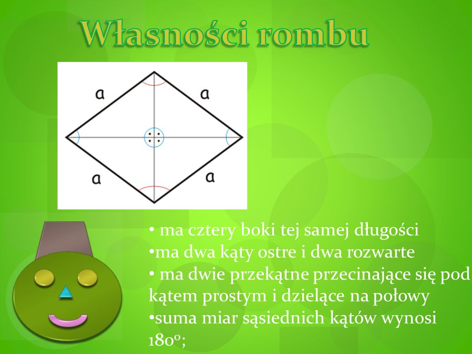 ma cztery boki tej samej długości ma dwa kąty ostre i dwa rozwarte ma dwie przekątne przecinające się pod kątem prostym i dzielące na połowy suma miar sąsiednich kątów wynosi 180 o ;