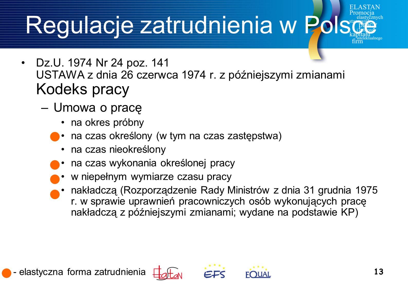 13 Regulacje zatrudnienia w Polsce Dz.U. 1974 Nr 24 poz.
