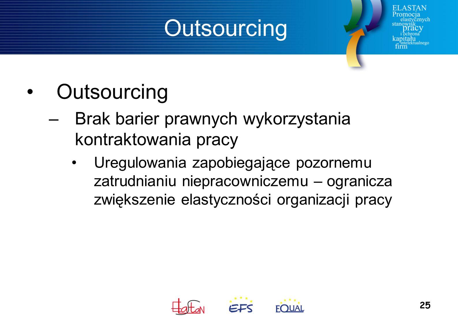 25 Outsourcing –Brak barier prawnych wykorzystania kontraktowania pracy Uregulowania zapobiegające pozornemu zatrudnianiu niepracowniczemu – ogranicza zwiększenie elastyczności organizacji pracy