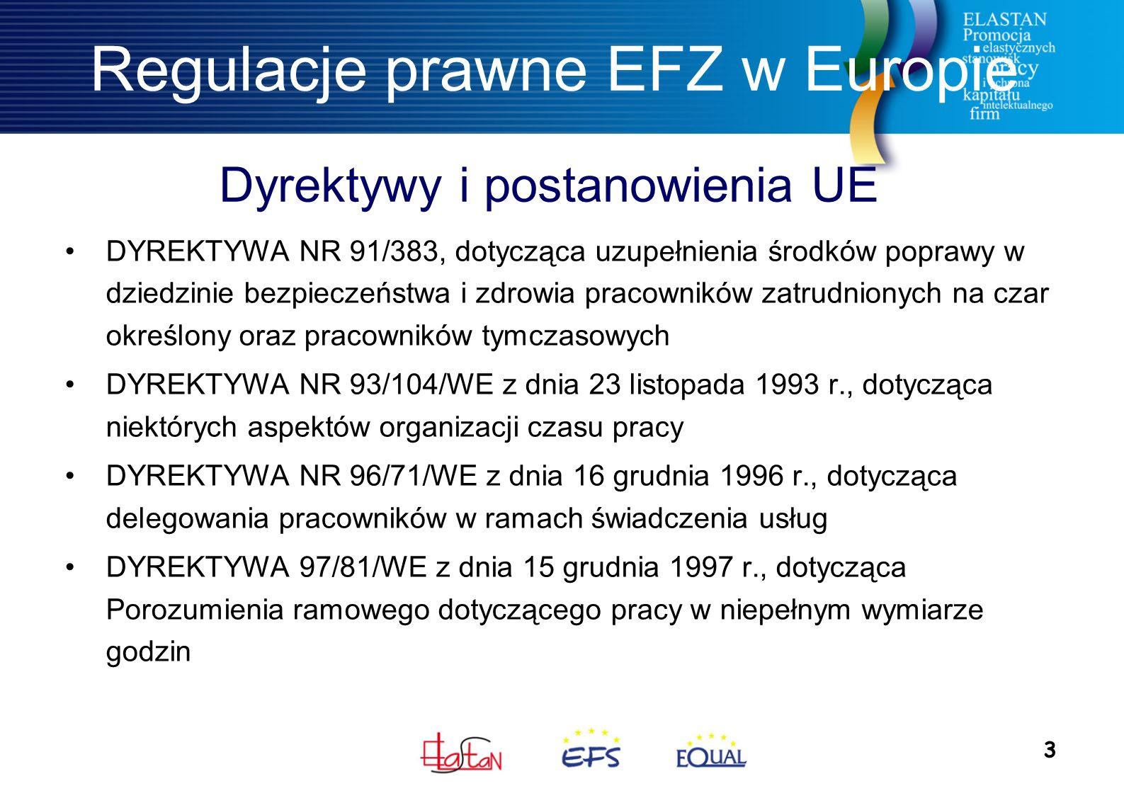 3 Dyrektywy i postanowienia UE Regulacje prawne EFZ w Europie DYREKTYWA NR 91/383, dotycząca uzupełnienia środków poprawy w dziedzinie bezpieczeństwa i zdrowia pracowników zatrudnionych na czar określony oraz pracowników tymczasowych DYREKTYWA NR 93/104/WE z dnia 23 listopada 1993 r., dotycząca niektórych aspektów organizacji czasu pracy DYREKTYWA NR 96/71/WE z dnia 16 grudnia 1996 r., dotycząca delegowania pracowników w ramach świadczenia usług DYREKTYWA 97/81/WE z dnia 15 grudnia 1997 r., dotycząca Porozumienia ramowego dotyczącego pracy w niepełnym wymiarze godzin