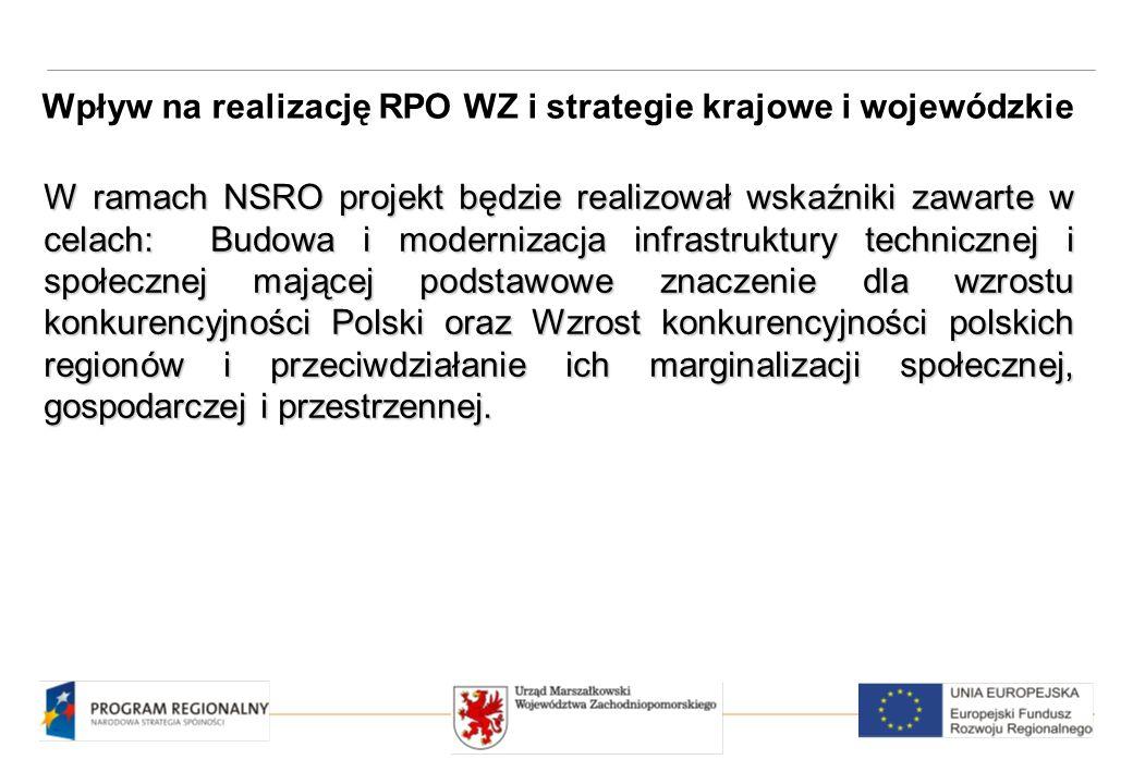 W ramach NSRO projekt będzie realizował wskaźniki zawarte w celach: Budowa i modernizacja infrastruktury technicznej i społecznej mającej podstawowe znaczenie dla wzrostu konkurencyjności Polski oraz Wzrost konkurencyjności polskich regionów i przeciwdziałanie ich marginalizacji społecznej, gospodarczej i przestrzennej.