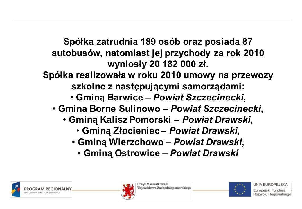 Spółka zatrudnia 189 osób oraz posiada 87 autobusów, natomiast jej przychody za rok 2010 wyniosły 20 182 000 zł.