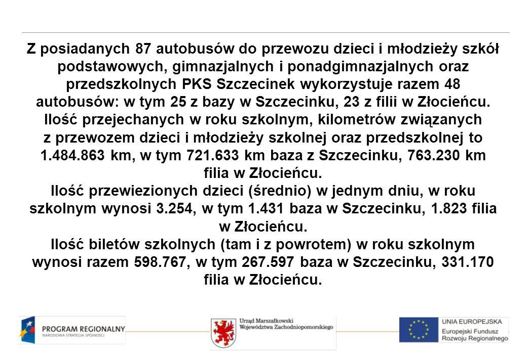 Z posiadanych 87 autobusów do przewozu dzieci i młodzieży szkół podstawowych, gimnazjalnych i ponadgimnazjalnych oraz przedszkolnych PKS Szczecinek wykorzystuje razem 48 autobusów: w tym 25 z bazy w Szczecinku, 23 z filii w Złocieńcu.
