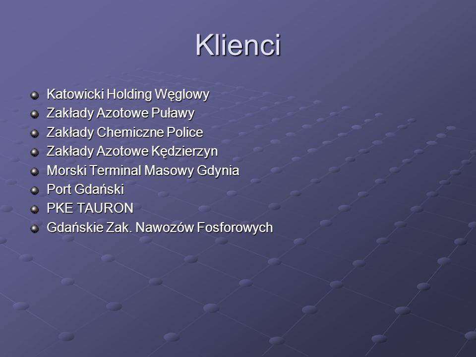 Klienci Katowicki Holding Węglowy Zakłady Azotowe Puławy Zakłady Chemiczne Police Zakłady Azotowe Kędzierzyn Morski Terminal Masowy Gdynia Port Gdański PKE TAURON Gdańskie Zak.