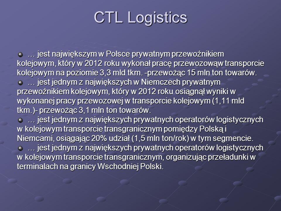 CTL Logistics … jest największym w Polsce prywatnym przewoźnikiem kolejowym, który w 2012 roku wykonał pracę przewozowąw transporcie kolejowym na poziomie 3,3 mld tkm.