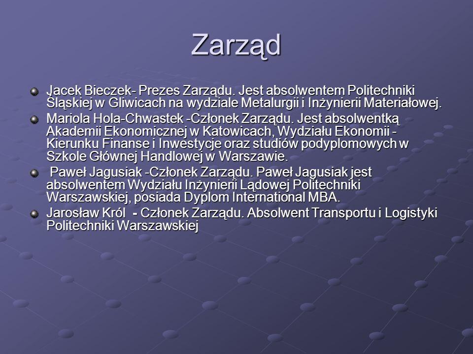 Zarząd Jacek Bieczek- Prezes Zarządu.