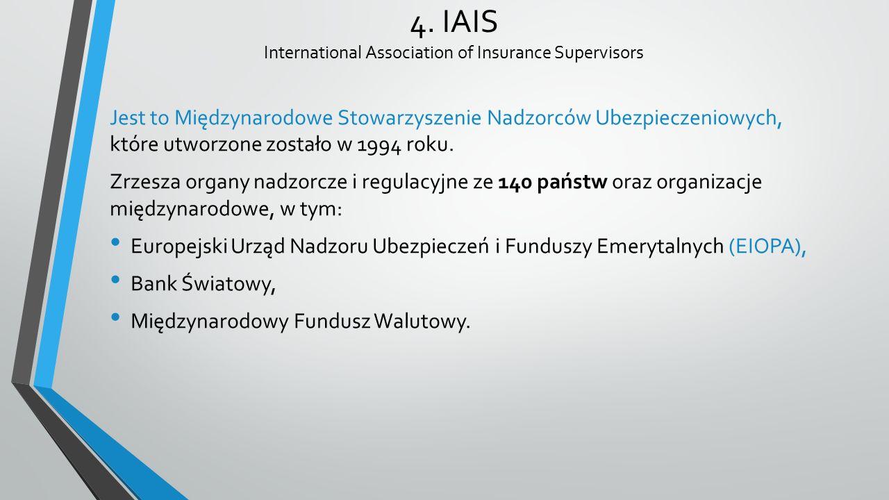 4. IAIS International Association of Insurance Supervisors Jest to Międzynarodowe Stowarzyszenie Nadzorców Ubezpieczeniowych, które utworzone zostało