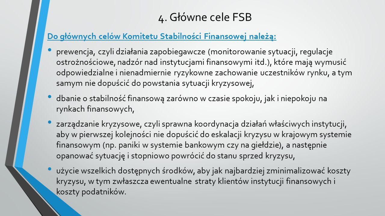 4. Główne cele FSB Do głównych celów Komitetu Stabilności Finansowej należą: prewencja, czyli działania zapobiegawcze (monitorowanie sytuacji, regulac