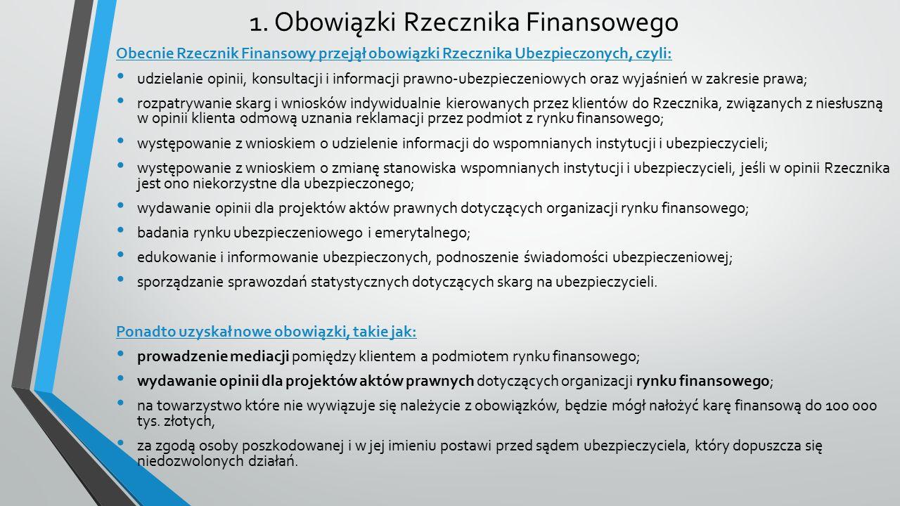 1. Obowiązki Rzecznika Finansowego Obecnie Rzecznik Finansowy przejął obowiązki Rzecznika Ubezpieczonych, czyli: udzielanie opinii, konsultacji i info