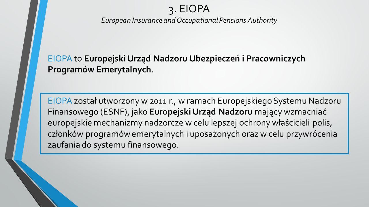 3. EIOPA European Insurance and Occupational Pensions Authority EIOPA to Europejski Urząd Nadzoru Ubezpieczeń i Pracowniczych Programów Emerytalnych.