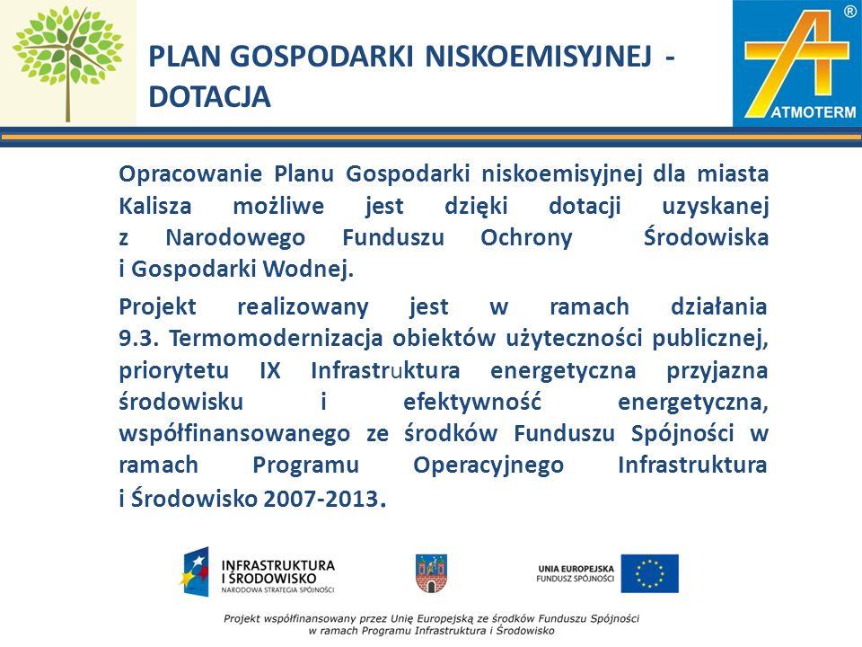 PLAN GOSPODARKI NISKOEMISYJNEJ - DOTACJA Opracowanie Planu Gospodarki niskoemisyjnej dla miasta Kalisza możliwe jest dzięki dotacji uzyskanej z Narodo