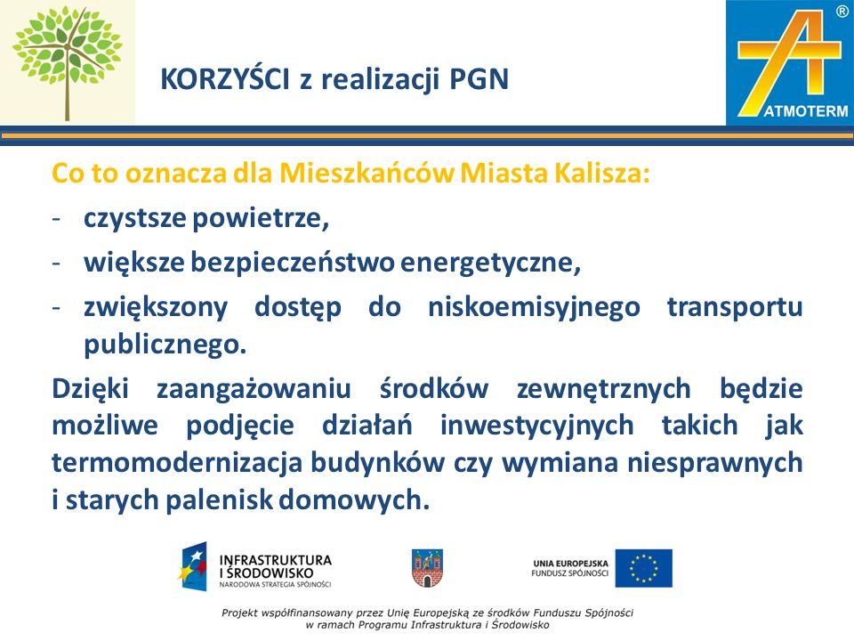 KORZYŚCI z realizacji PGN Co to oznacza dla Mieszkańców Miasta Kalisza: -czystsze powietrze, -większe bezpieczeństwo energetyczne, -zwiększony dostęp do niskoemisyjnego transportu publicznego.